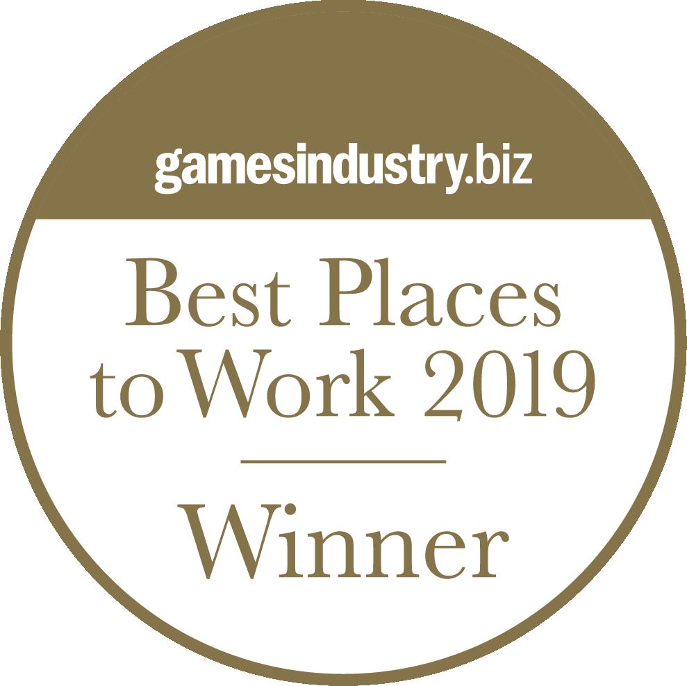 GamesIndustry.biz Best Place to Work! Gold Winner 2019